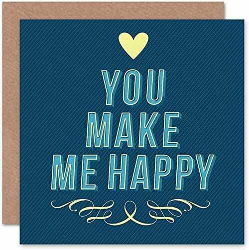 Nowość, ''You Make Me Happy Love'' serce niebieska artystyczna kartka z życzeniami prezent