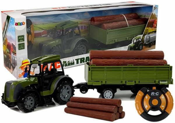 Zielony Traktor z Przyczepą Belami Drewna Zdalnie Sterowany 2.4G