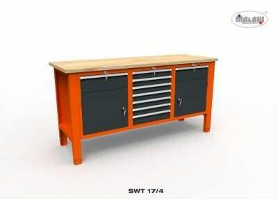 Metalowy stół warsztatowy SWT 17/04 TRÓJKA na narzędzia 9 szuflad