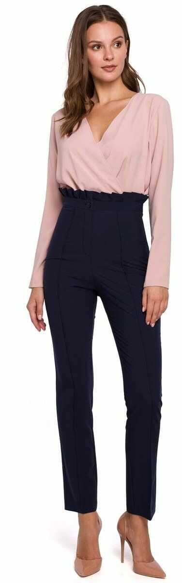 Granatowe eleganckie spodnie w kant z falbanką w pasie