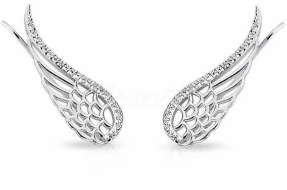 Eleganckie rodowane srebrne kolczyki nausznice skrzydła skrzydełka z cyrkoniami srebro 925 Z1606E