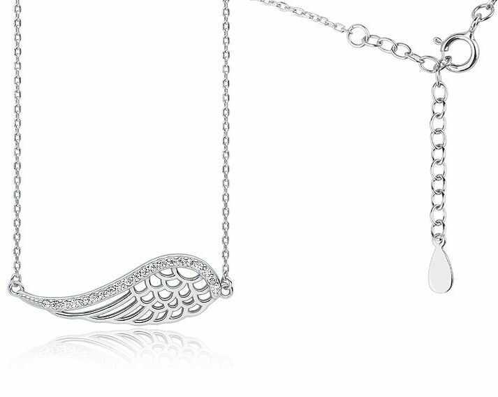 Rodowany srebrny naszyjnik gwiazd celebrytka skrzydło anioła wings cyrkonie srebro 925 Z1606N