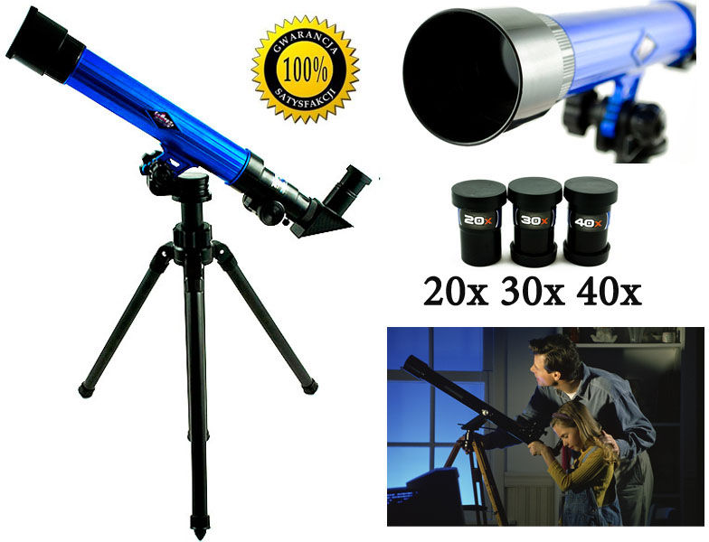 Edukacyjny Teleskop Astronomiczny + Statyw + Wymienne Okulary (20x, 30x, 40x).