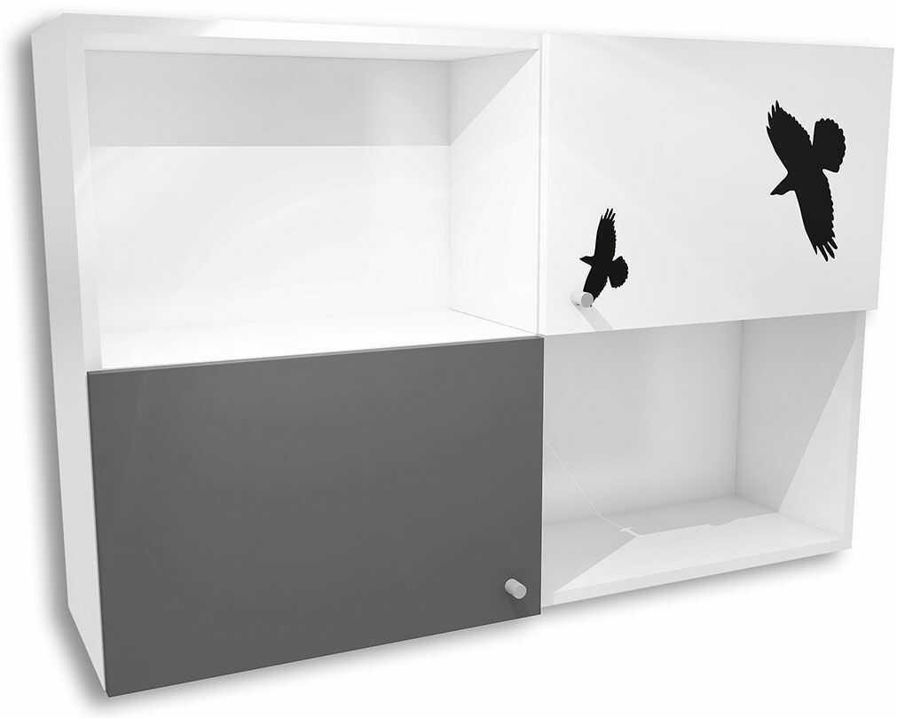 Biało-grafitowa szafka wisząca dziecięca Timi 18X - 5 kolorów