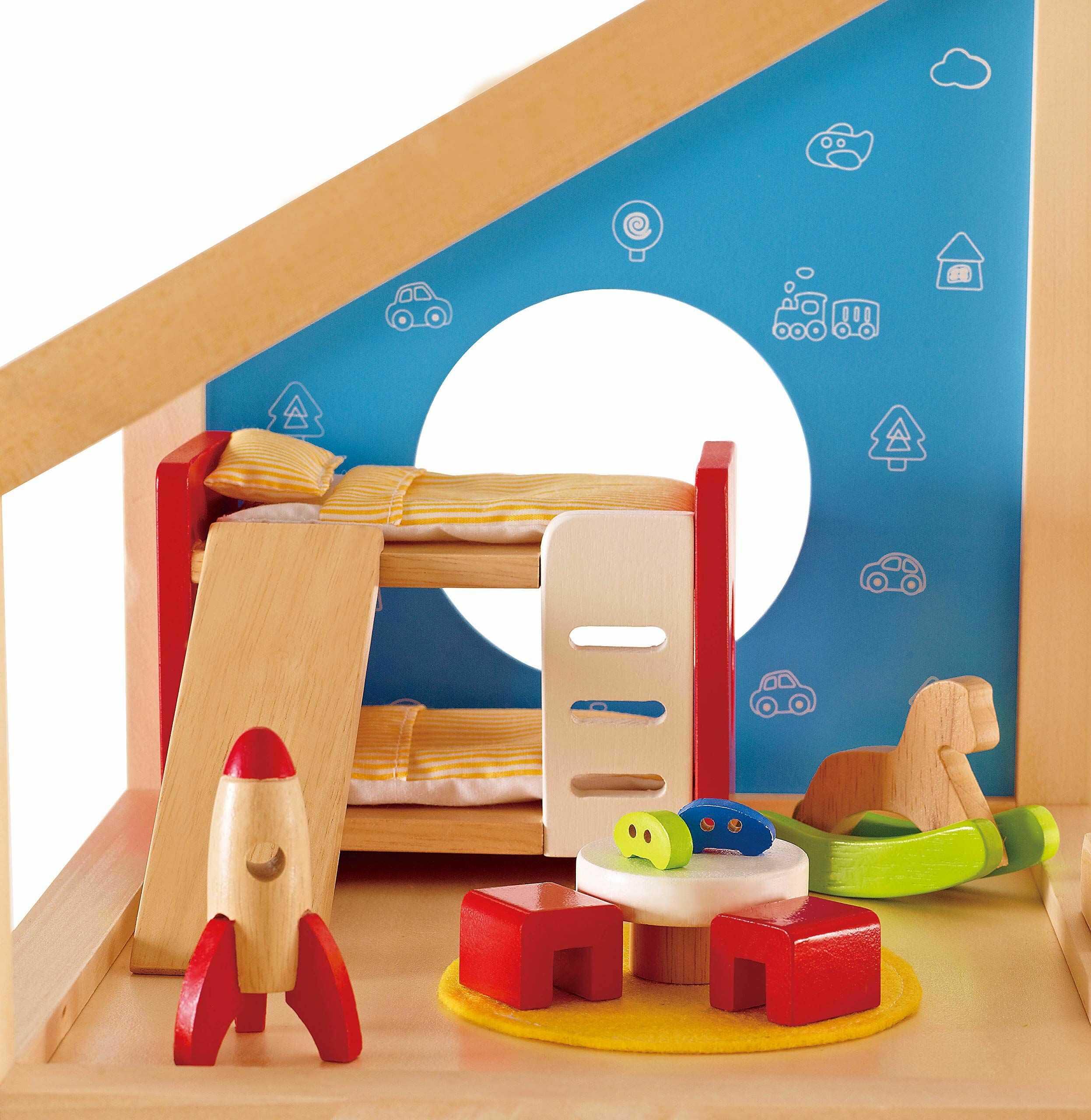 Hape Pokój dziecięcy Bardzo szczegółowy zestaw mebli do domku dla lalek w tym łóżka piętrowe, stół, krzesła i statek rakietowy