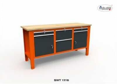 Stół warsztatowy SWT 17/06 6 szuflad 2 szafki zamykane na klucz