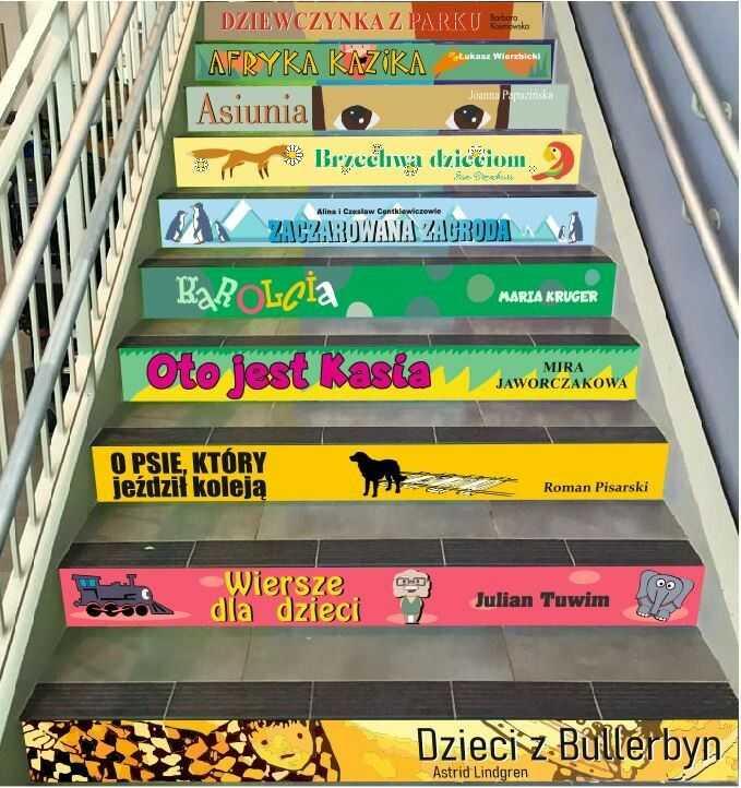 Naklejki na schody - lektury szkolne dla klas 1-3