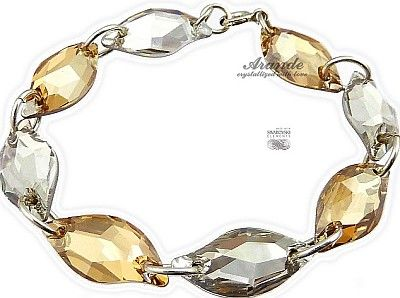 Swarovski Bransoletka Golden Leaf Crystal