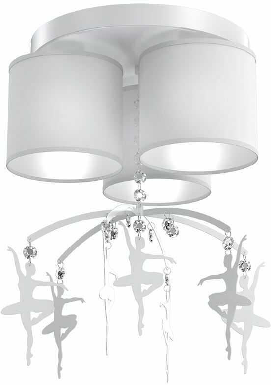 Milagro BALETNICA WHITE MLP4968 plafon lampa sufitowa glamour abażur tkanina biały kryształki baletnice 3xE27 36cm