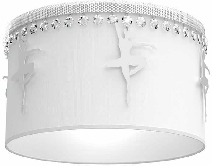 Milagro BALETNICA WHITE MLP4970 plafon lampa sufitowa glamour abażur tkanina biały kryształki baletnice 1xE27 37cm