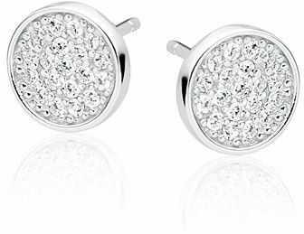 Delikatne rodowane srebrne kolczyki celebrytka kółka circle coin cyrkonie srebro 925 Z1548E
