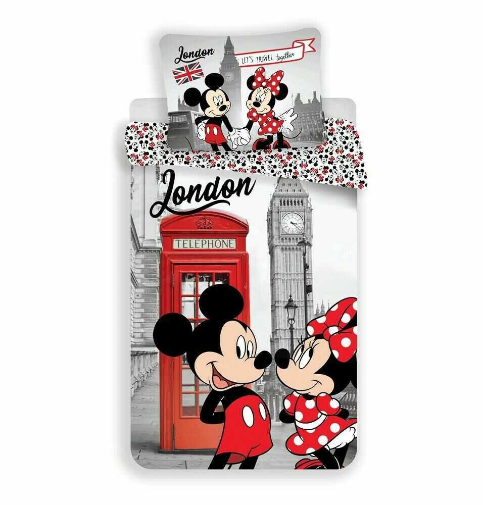 Pościel bawełniana 140x200 Myszka Mini i Miki 6770 Londyn Minnie Mickey Mouse poszewka 70x90