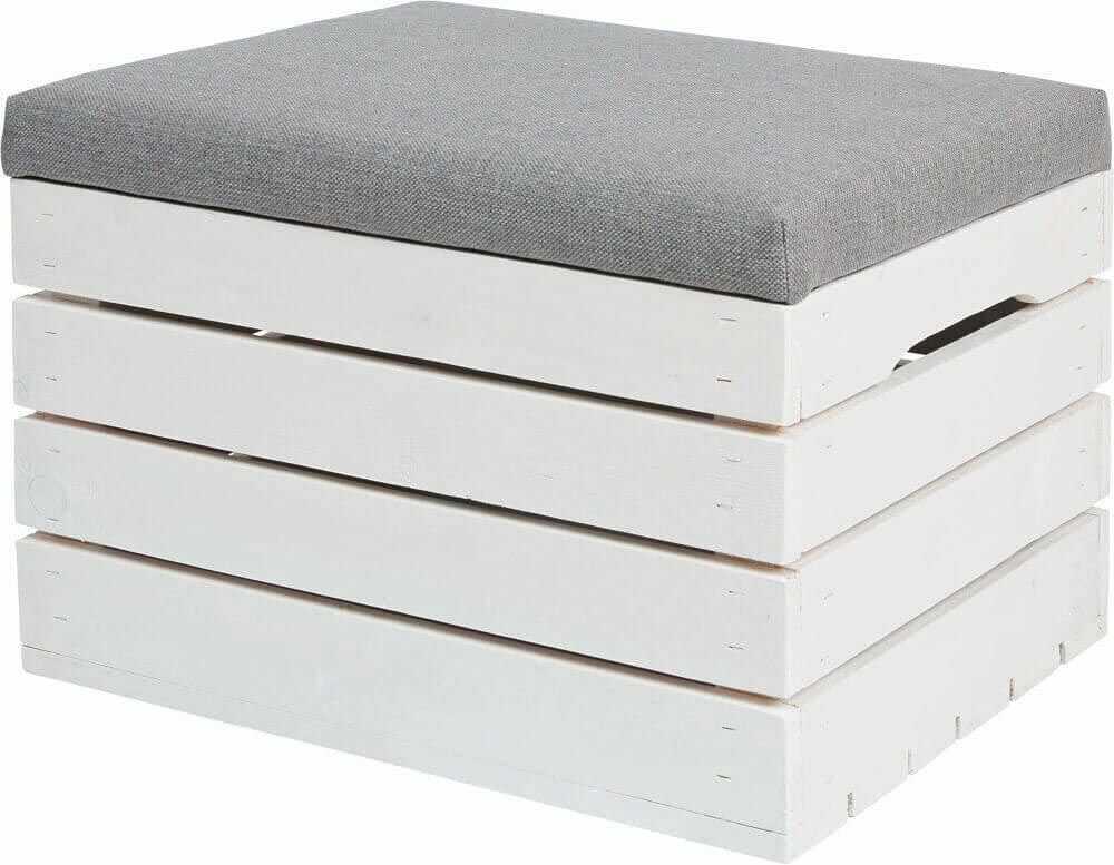Biała drewniana skrzynia z siedziskiem Alva 2X- 38 kolorów