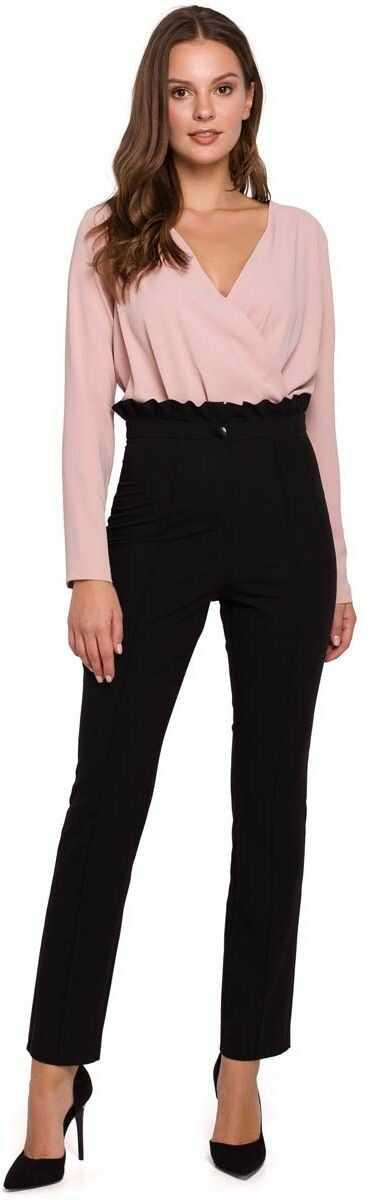 Czarne eleganckie spodnie w kant z falbanką w pasie
