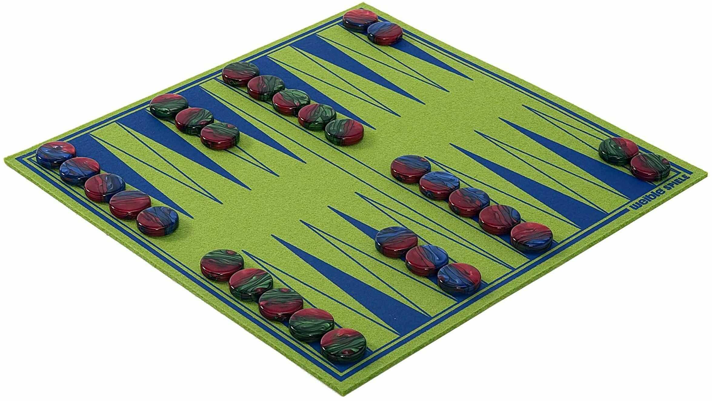 Weible Spiele 06226 Backgammon ''Play ''N'' ROLL'' z filcu wełnianego z kamieniami do gry ze szkła akrylowego
