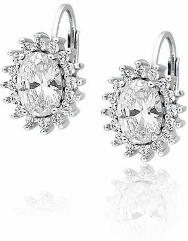 Eleganckie rodowane srebrne kolczyki z białą cyrkonią srebro 925 Z0685D1_W