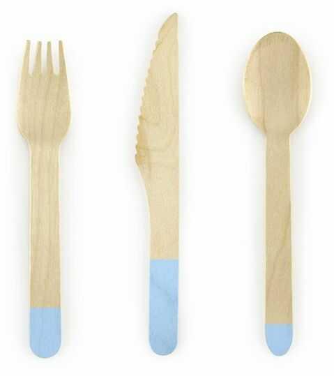 Sztućce drewniane jasnoniebieskie 18 sztuk SDR1-001J