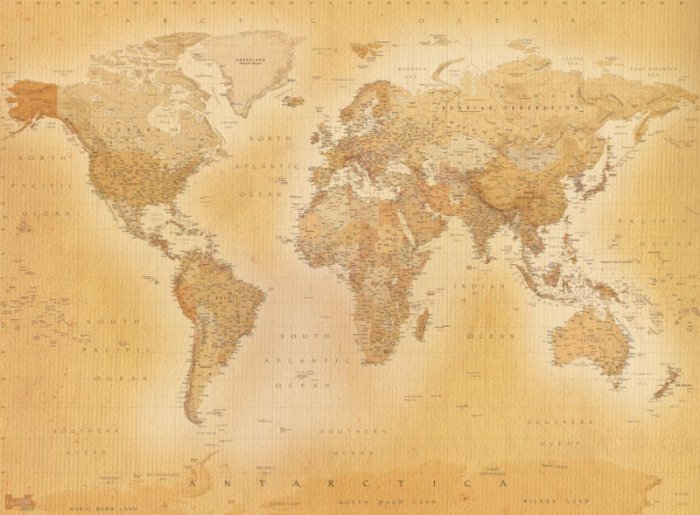 Fototapeta Mapa świata - Styl Vintage - 232x158 cm