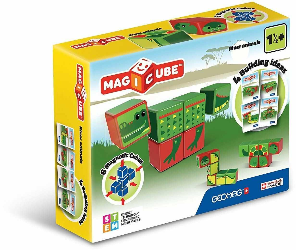 Geomag 133 Magicube River Animals kostki magnetyczne do konstrukcji, zabawki edukacyjne