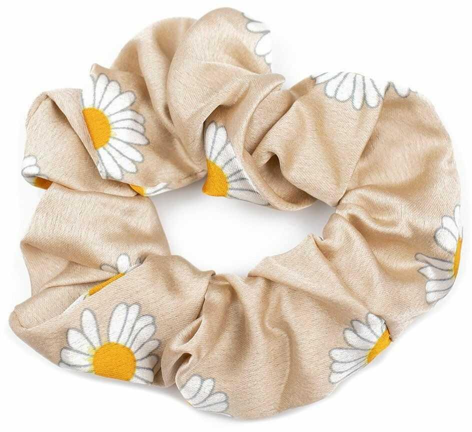 Gumka frotka do włosów scrunchies kwiaty beżowa