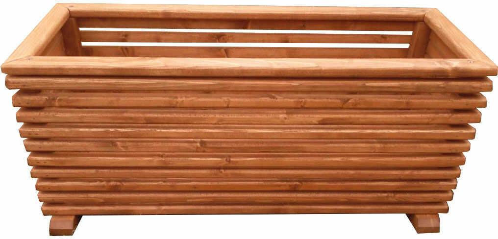 Prostokątna duża drewniana donica do ogrodu - Lingo