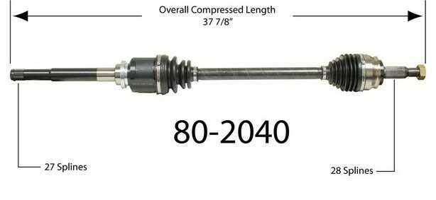 Półoś napędowa przednia prawa 80-2040