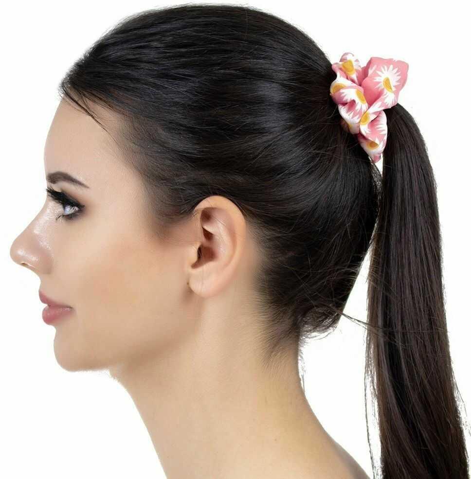 Gumka frotka do włosów scrunchies kwiaty różowa