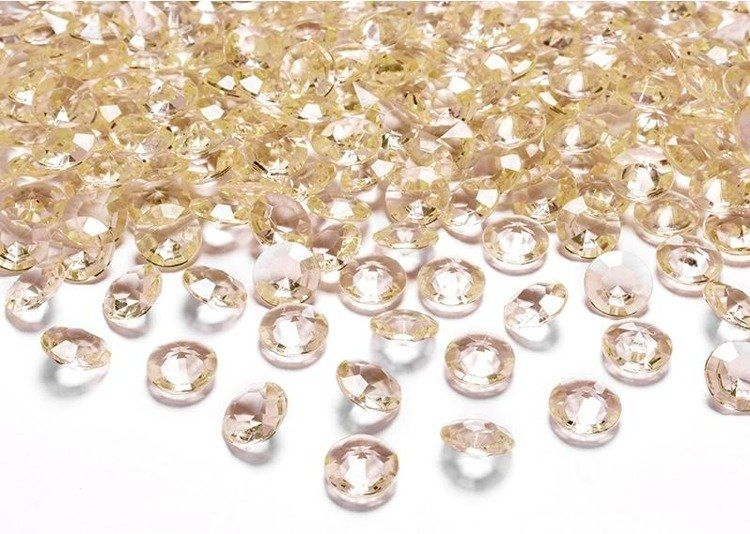 Diamentowe konfetti 12mm dekoracyjne kryształy 100 sztuk złote adc12-019