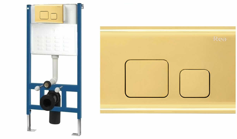 Rea Stelaż zestaw podtynkowy do mis WC z przyciskiem F Light Gold