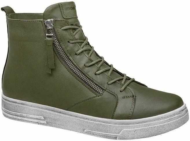 Komfortowe Trzewiki MANITU 991596-7 Olive Oliwkowe Botki Sneakersy