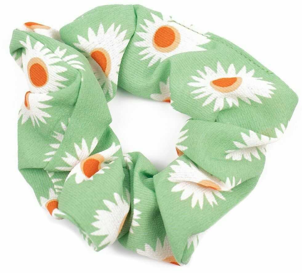 Gumka frotka do włosów scrunchies kwiaty zielona