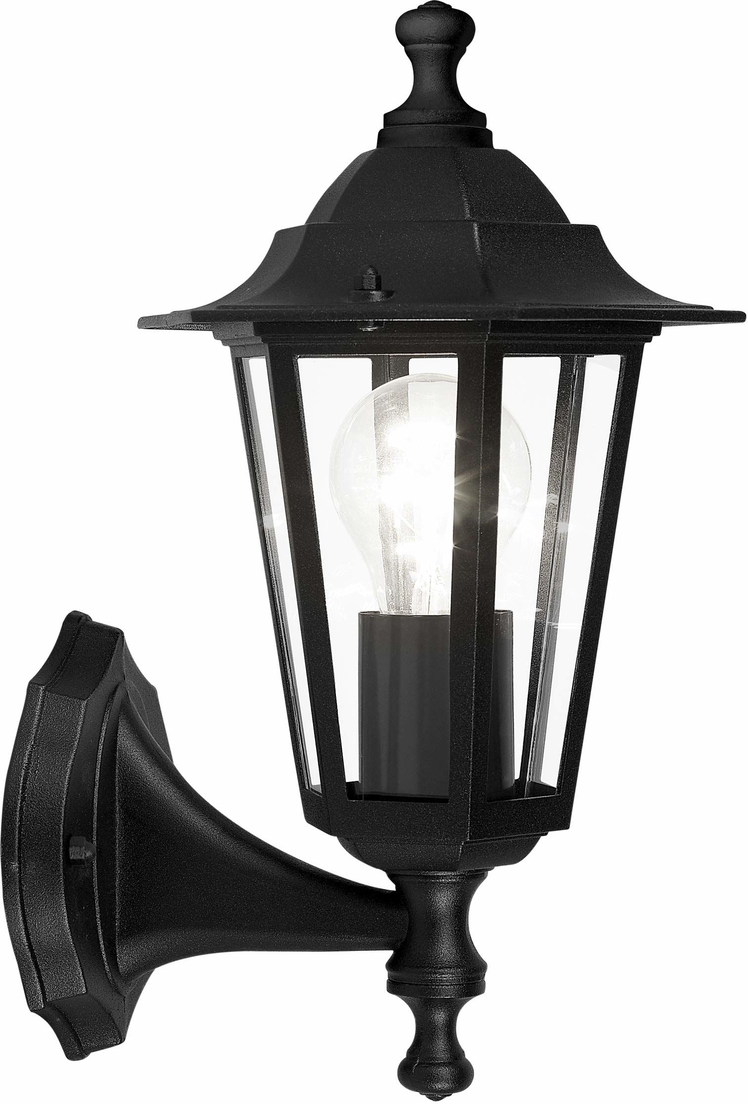 EGLO Zewnętrzna lampa ścienna Latarna 4, 1-punktowa lampa zewnętrzna, lampa ścienna z odlewu aluminium i szkła, kolor: czarny, oprawka: E27, IP44