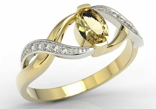 Pierścionek z żółtego i białego złota z cytrynem i brylantami ap-69zb