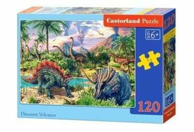 Puzzle Castor 120 - Dinozaury pod wulkanami, Dinosaur Volcanos