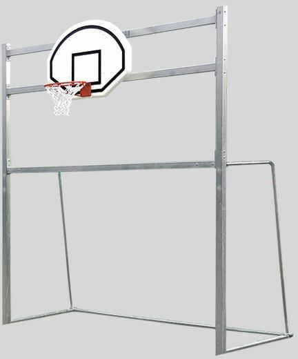Bramka do piłki ręcznej z tablicą do koszykówki