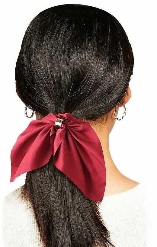 Gumka do włosów frotka scrunchies kokarda bordowa