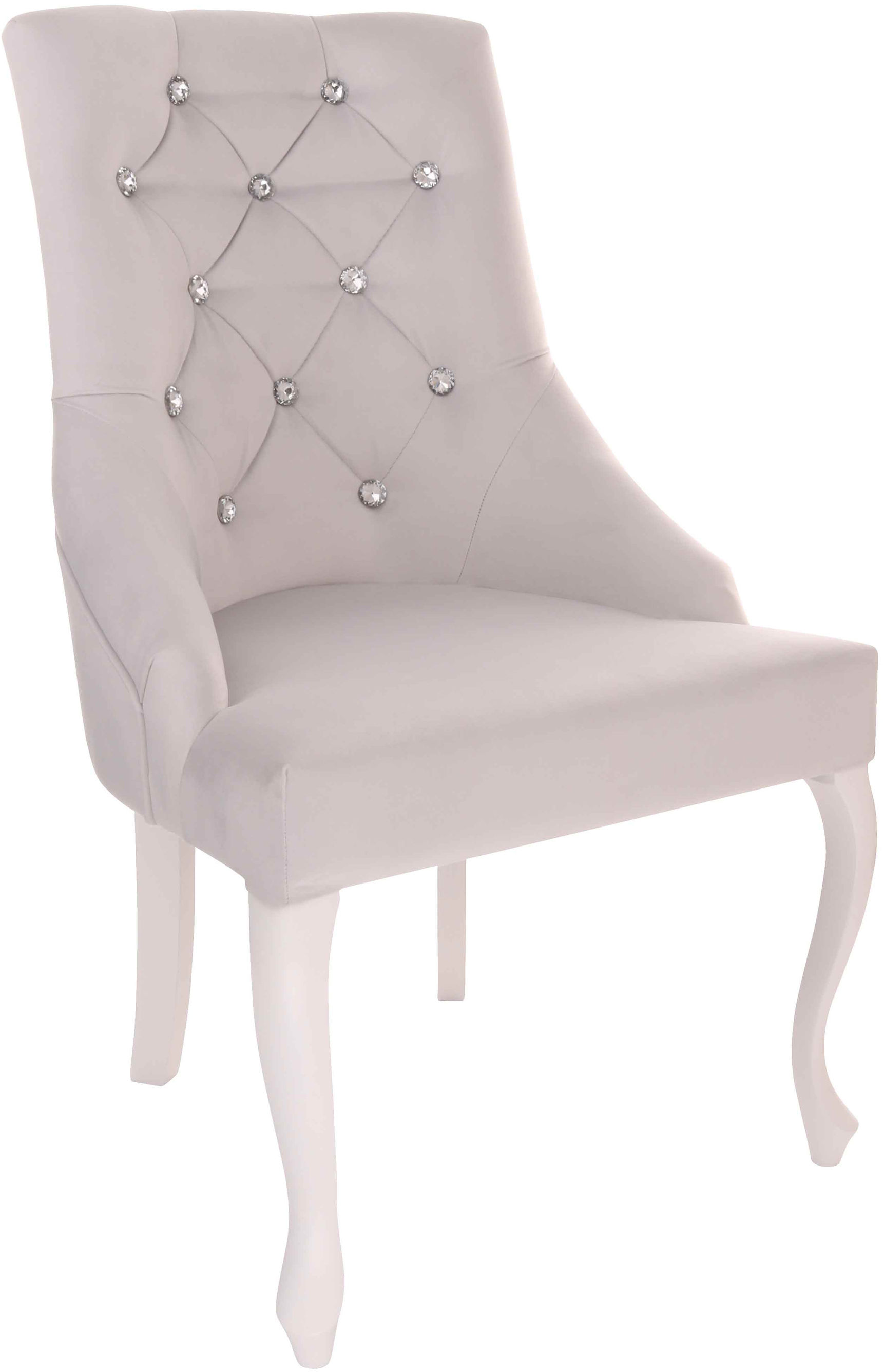 Krzesło Cristal z kryształkami, nogi Ludwik, stylowe, ozdobne, eleganckie, w stylu glamour, do jadalni, do toaletki, z pikowaniem