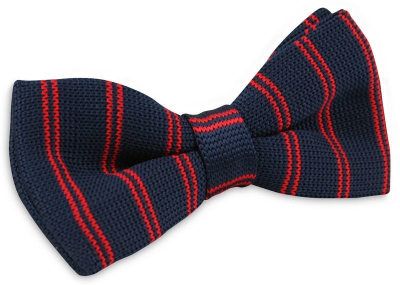 Granatowa Mucha Typu Knit (Czerwone Paski) - Alties MUALTS0176