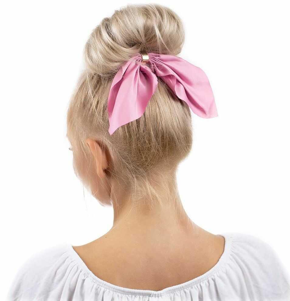 Gumka do włosów frotka scrunchies kokarda różowa
