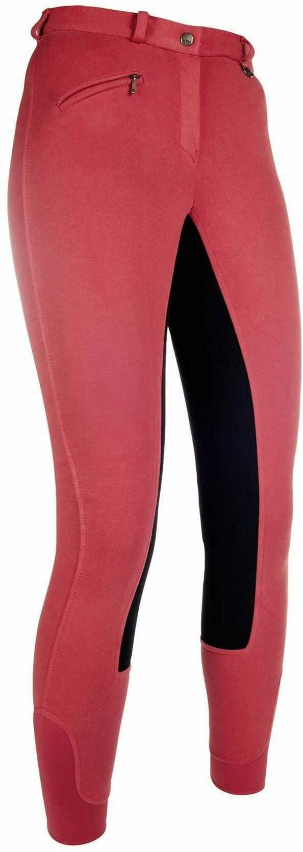 HKM Unisex spodnie jeździeckie Basic Belmtex Grip Easy - 3/4 obszycie beżowy czerwony/czarny 50