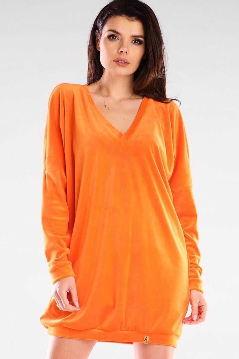 Krótka welurowa sukienka zakończona ściągaczem - pomarańczowa