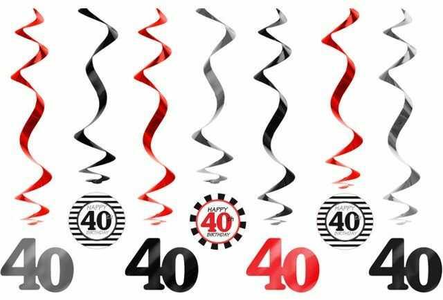 Dekoracja na 40 urodziny świderki 7 sztuk SWID16