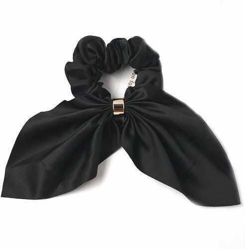 Gumka do włosów frotka scrunchies kokarda czarna