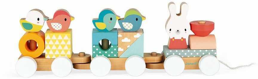 Janod J05157 drewniana pociąg, zabawka do ciągnięcia, 17 klocków, malowana farbą na bazie wody, dla dzieci od 1 roku życia, wielokolorowa