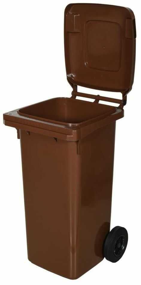 Kosz na śmieci 120 l brązowy na odpady biodegradowalne