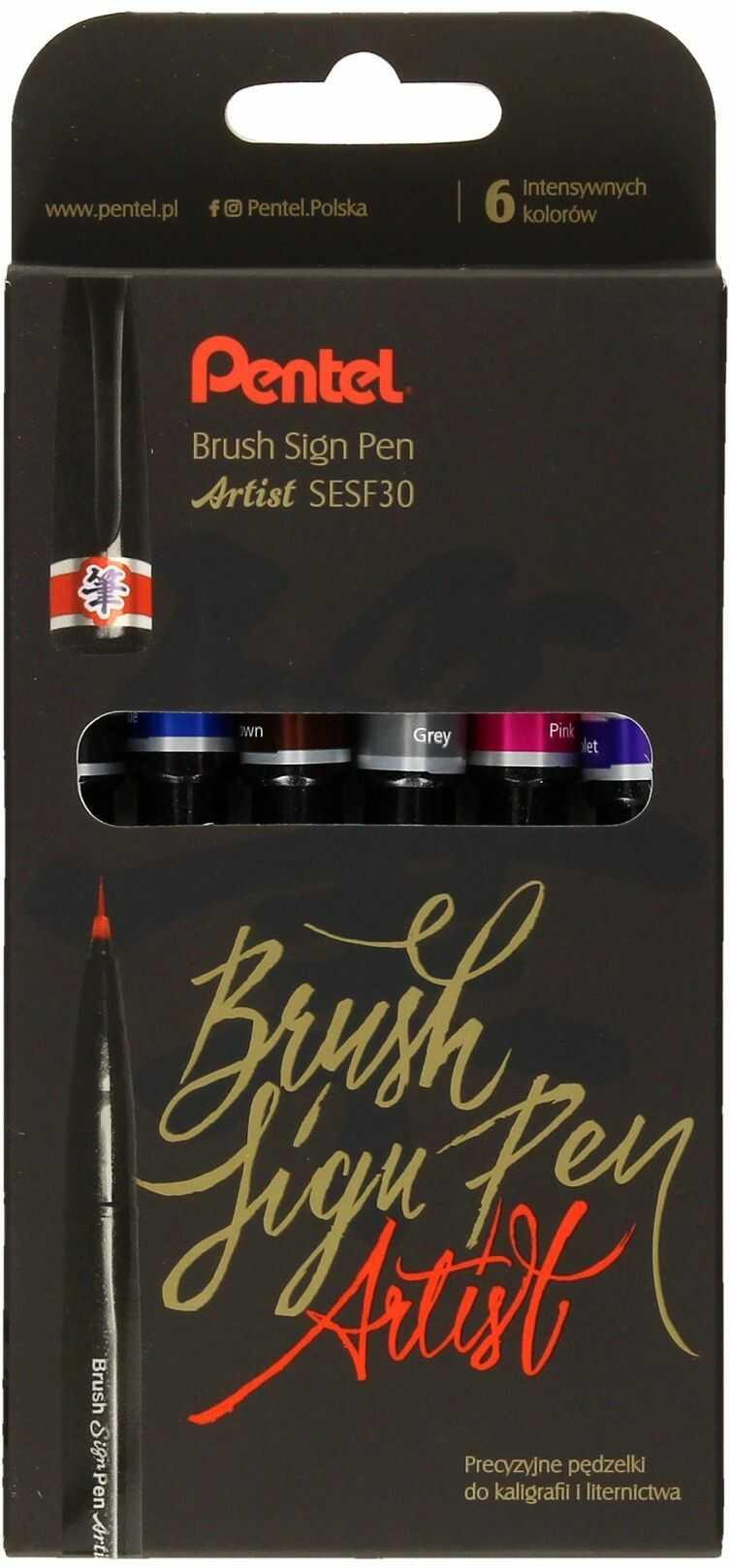 Pisaki artystyczne 6kol Artist Brush Sign Pen Pentel SESF30C-ST6ACENPVPL