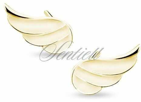 Srebrne (925) kolczyki pozłacane skrzydła - żółte złoto