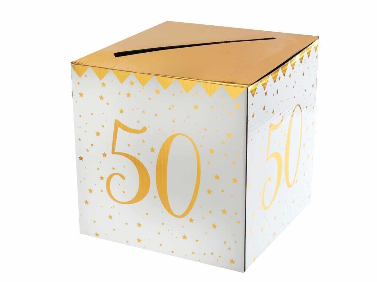Pudełko na koperty z życzeniami, prezentami na 50-tkę - 1 szt.