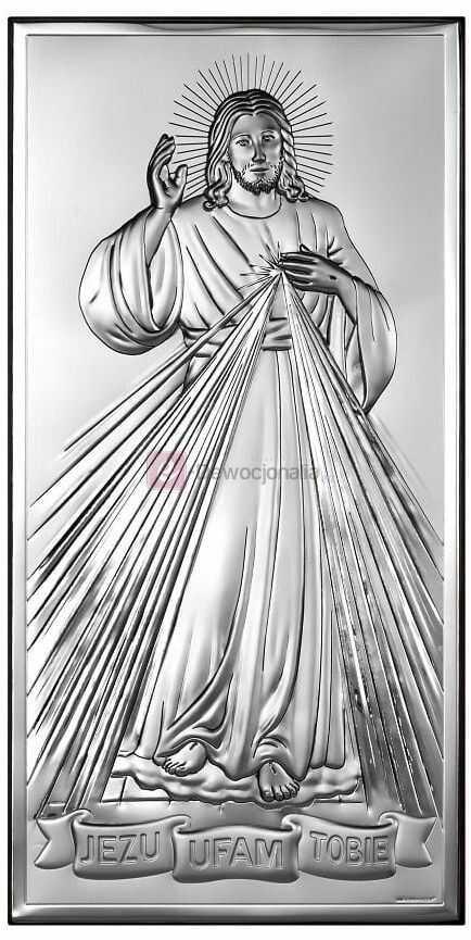 Obrazek srebrny - Jezu Ufam Tobie 12x6