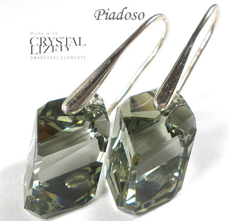 SWAROVSKI kolczyki SREBRO Black Diamond